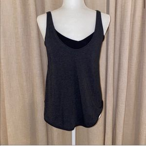 Dark gray & black Lululemon tank with built in bra